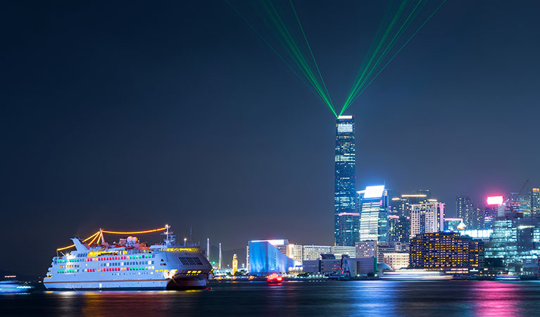 Laser show in Hong Kong's Victoria Harbor
