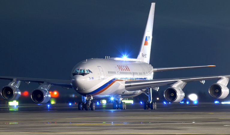 One of Vladimir Putin's Ilyushin Il-96-300PU airplanes.